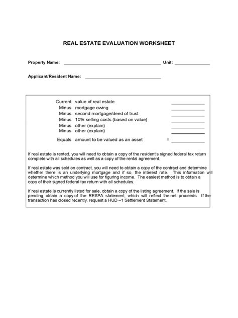 Real Estate Evaluation Form - 2 Free Templates in PDF