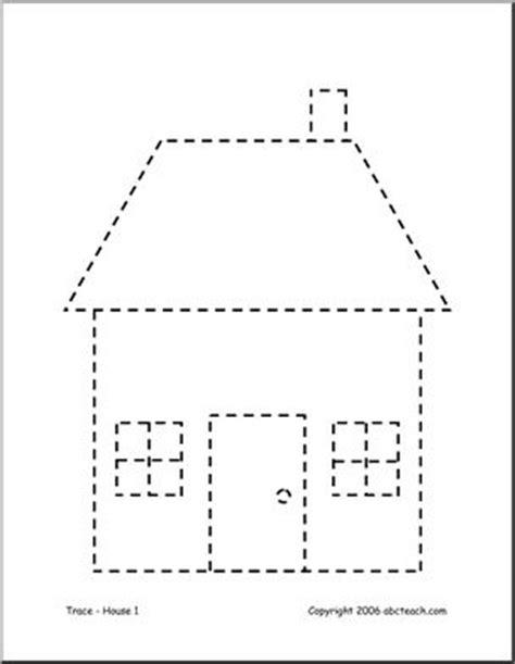 house pattern for kindergarten house trace preschool worksheet house best free