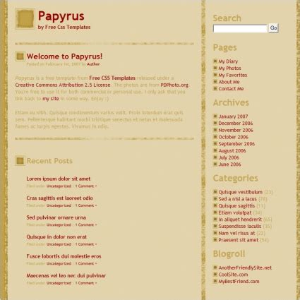 papyrus free website templates in css html js format for