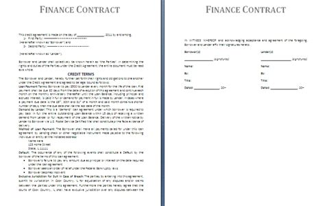 financial agreement template finance contract template free contract templates