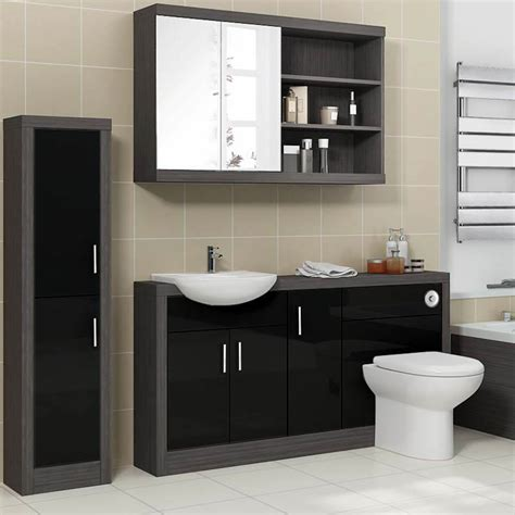 fitted bathroom cupboards hacienda 1500 fitted furniture pack black buy online at