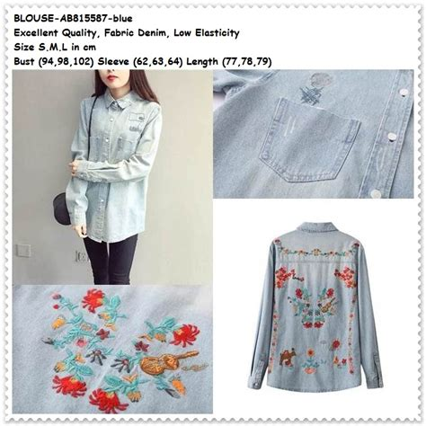 Blouse Atasan Import Baju Korea jual baju atasan biru blue blouse lengan panjang