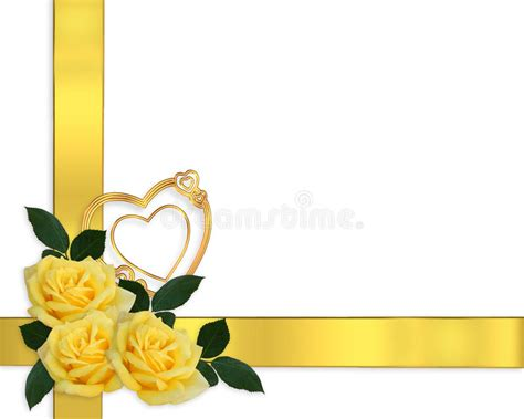 Wedding Invitations With Yellow Border by Wedding Invitation Yellow Roses Border Stock Illustration