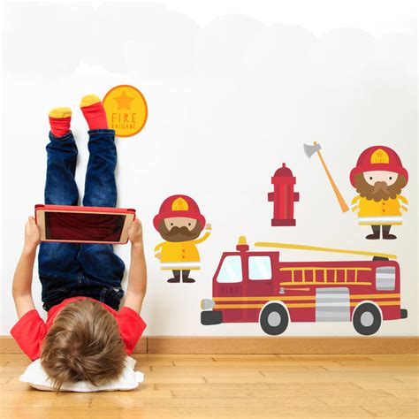 engine wall stickers engine and firemen fabric wall stickers by snuggledust studios notonthehighstreet