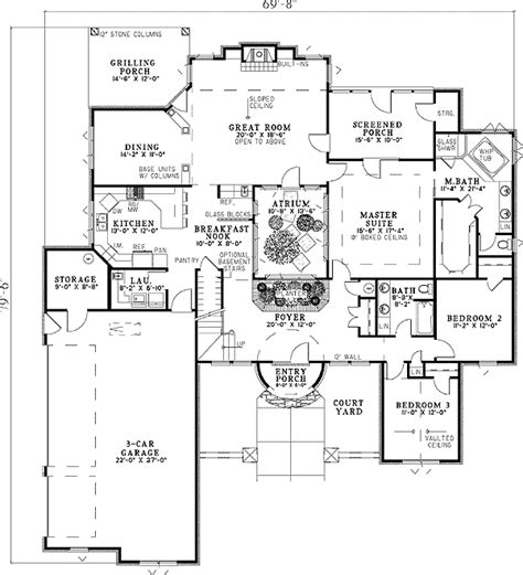 plan w59856nd tuscan home with fabulous atrium e
