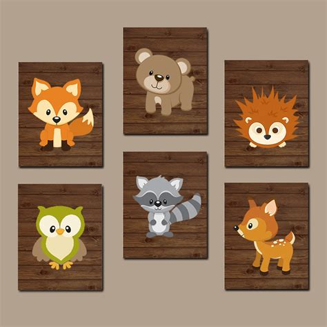 Woodland Creatures Nursery Decor Woodland Nursery Wall Wood Forest Animal Artwork