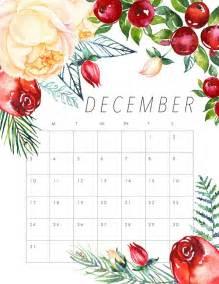 Calendar 2017 August December Free Printable 2017 Floral Calendar December Planners