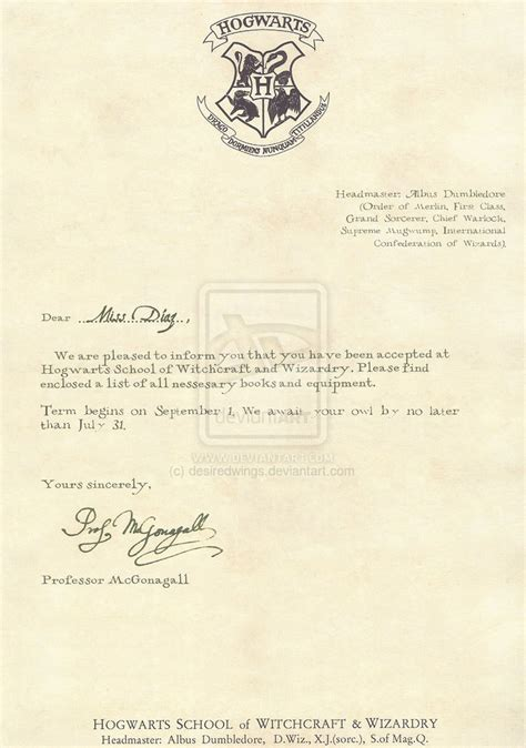 Blank Harry Potter Acceptance Letter Hogwarts Acceptance Letter Template Best Business Template