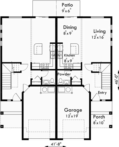 duplex row house floor plans duplex house plans duplex home designs d 538