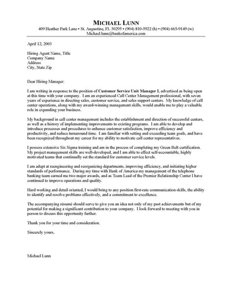 Sample Cover Letter: Cover Letter Examples Call Center
