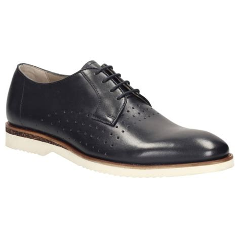 clarks mens tulik edge navy leather formal shoes at