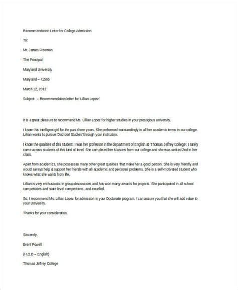 Professional Recommendation Letter For College 79 Exles Of Recommendation Letters