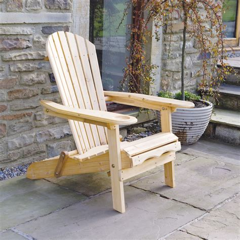 Patio Wooden Adirondack Arm Chair   Lounger with Leg Rest