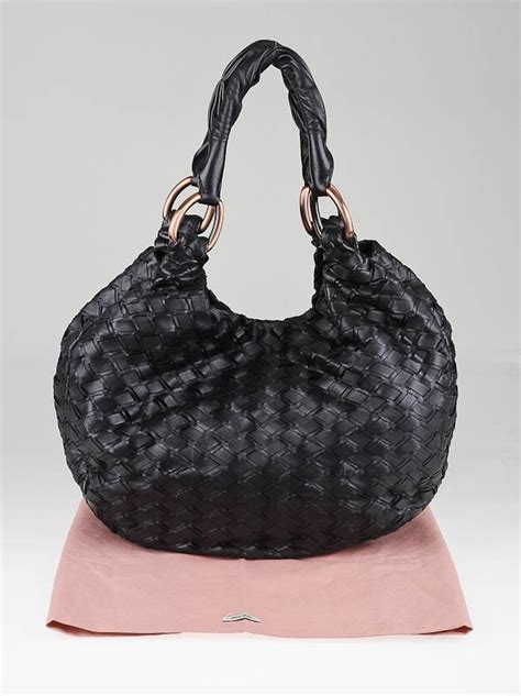 Miu Miu Woven Leather Tote by Miu Miu Black Woven Leather Hobo Bag Yoogi S Closet