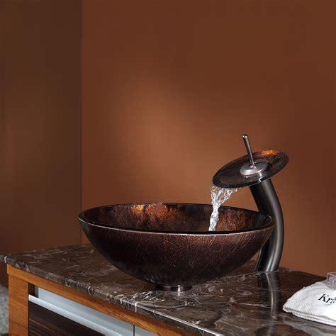 kraus mercury glass vessel sink and waterfall kraus pluto glass vessel sink waterfall faucet chrome