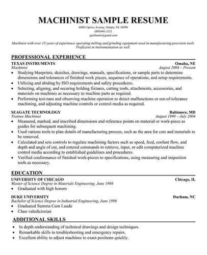 cnc machinist resume template here is link for this sle cnc machinist resume