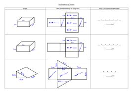 Surface Area Nets Worksheet