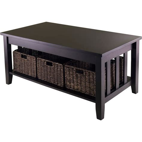 accent table with baskets morris coffee table with 3 baskets espresso walmart com