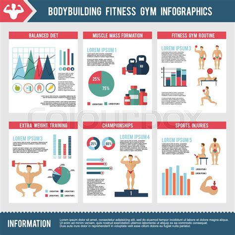 Bodybuilding Fitness Gym Infographics Set With Charts And Sport Icons Vector Illustration Fitness Infographic Template