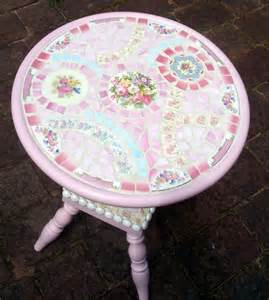 shabby mosaic china table chic by suezcues on etsy