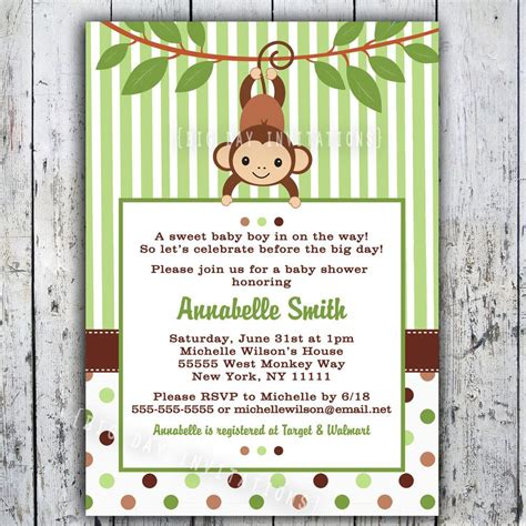 Mod Monkey Baby Shower by Mod Monkey Baby Shower Invitation Printable Boy Or