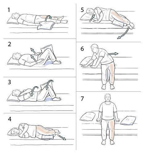 steps to get in bed step by step using log roll to get out of bed hip care