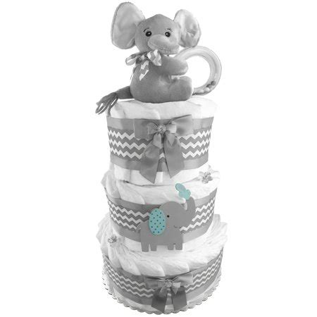 elephant diaper cake   boy baby shower  tier centerpiece gift set walmartcom