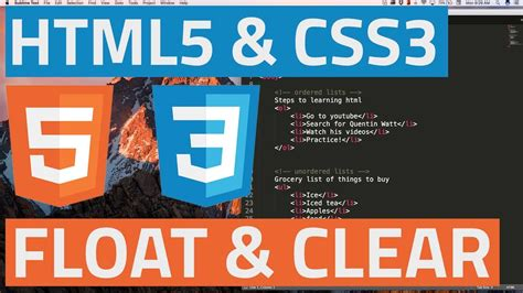 javascript tutorial quentin watt html5 and css3 beginner tutorial 24 float and clear