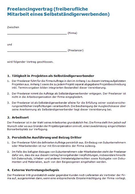 Muster Dienstleistungsvertrag Schweiz Freelancingvertrag Muster Zum