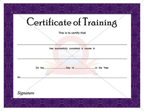 free templates for training certificates certificate of training certificate template pinterest
