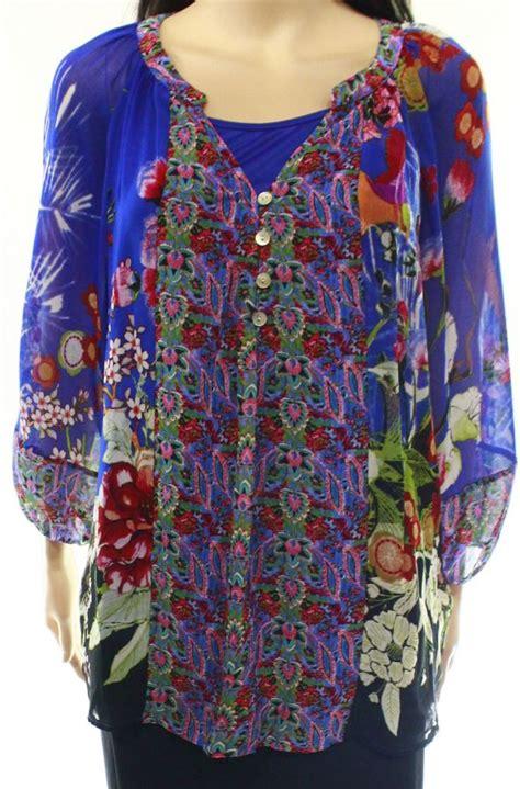 Blue Flower Smocked Blouse Size S M L 1 figueroa flower blue floral print s size medium m blouse tops