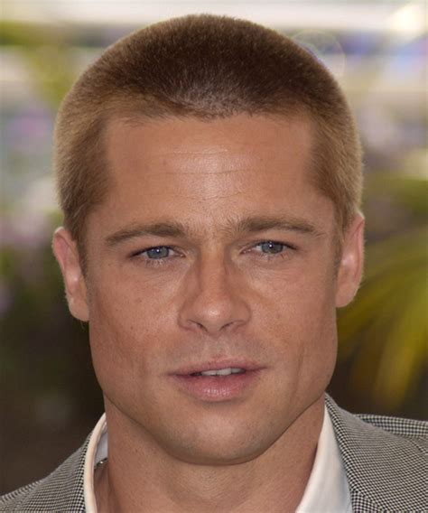 brad pitt short hairstyles for men brad pitt short straight casual hairstyle medium blonde