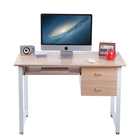 Quality Home Office Desks Carver 2017 Compact Computer Desk With 2 Drawers Home Office Workstation Ebay