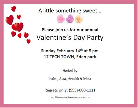 valentine templates for word ms word valentine s day party invitation cards word
