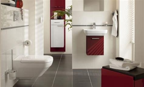 Interior : White Modern Bathroom Paint Colors Alongside Red Accent Wash Basin And Gray Floor