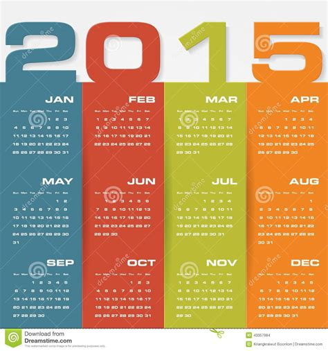 layout calendar 2015 simple editable vector calendar 2015 stock vector image