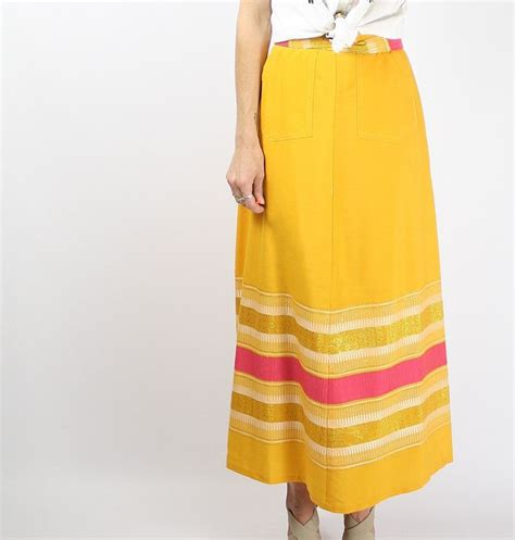 Wilatika Ethnic Warp Maxi Skirt vintage wrap skirt boho maxi skirt 70s midi ethnic hippie skirt gypset embroidered yellow gold