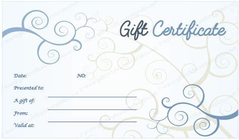 Design A Gift Certificate Template Free by Blue Floral Design Gift Certificate