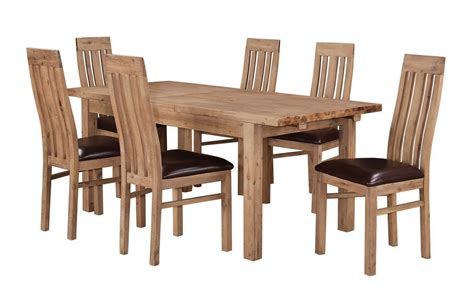 Wooden Dining Table And 6 Chairs Solid Acacia Extending Wooden Dining Table 6 Chairs Homegenies