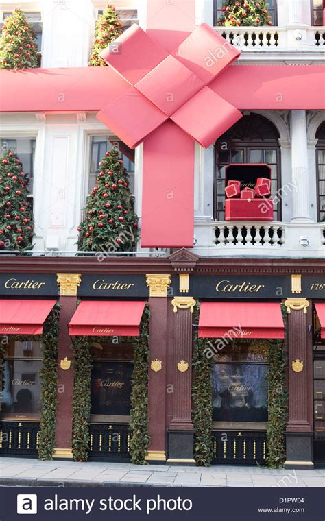 cartier shop front christmas decorations   streets  london stock photo  alamy