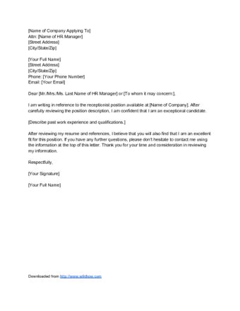 how to prepare a covering letter how to write a cover letter for a receptionist 12 steps