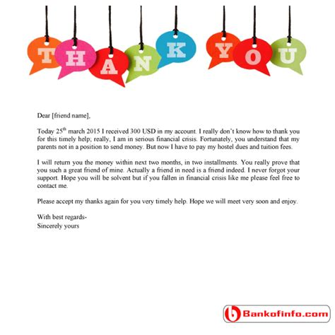 Financial Support Letter For Friend Sle Thank You Letter For Financial Support Letter