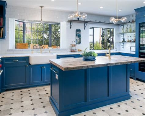 Amazing Blue Kitchen Painted in Farrow & Ball Stiffkey