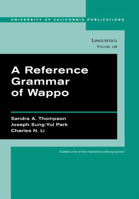 reference books grammar punctuation a reference grammar of wappo a thompson joseph