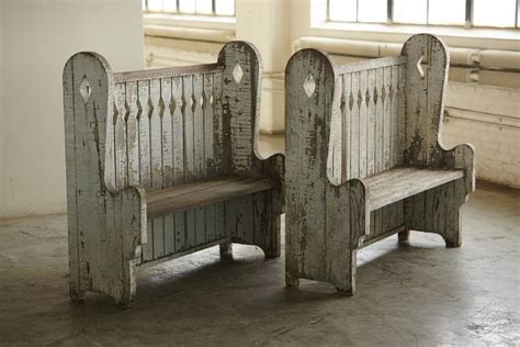tall back bench matching pair of original painted oak high back settle