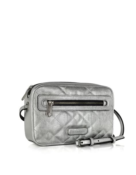 Marc Metallic Quilted Leather Pouchette In Silver by Marc By Marc Sally Silver Metallic Quilted