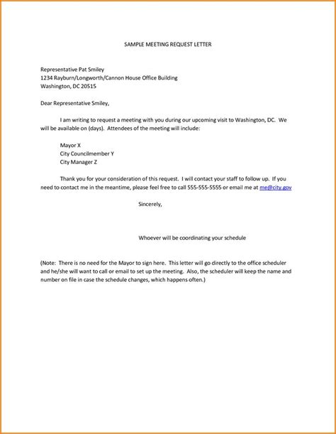 Request Letter To Client For Meeting Sle Meeting Request Letter Representative Pat Smiley