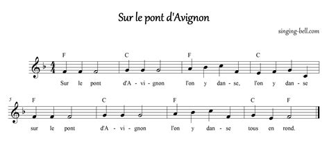sle score sheet free nursery rhymes gt sur le pont d avignon free mp3