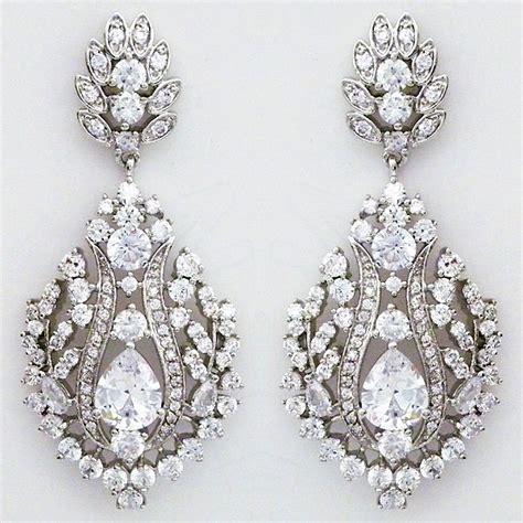 cz chandelier earrings bridal cz jewelry statement chandelier earrings