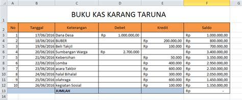 format buku kas karang taruna belajar rumus excel sum sumif sumifs lengkap update